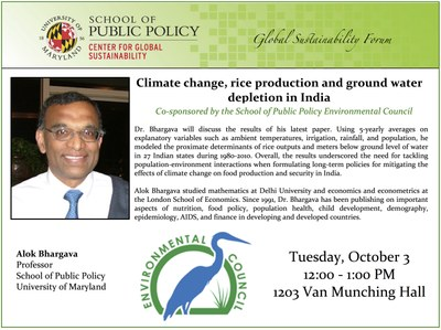 Alok Bhargava -  Climate change, rice production and ground water depletion in India